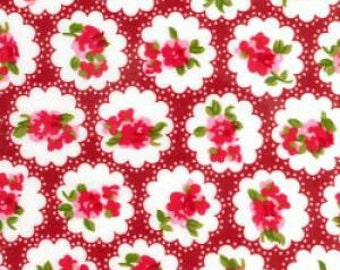 Shabby chic fabric cotton poplin red floral clouds design vintage look sold by yard