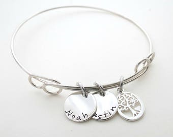 Personalized Bracelet - Family Tree Charm - Custom Bangle - Mothers Bracelet - Grandkids - Personalized Jewelry - Grandma - Son - Daughter