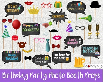 Birthday Party  photo booth props. Printable. DIY Birthday party bubble speech. Instant download. PDF Digital file. High resolution.