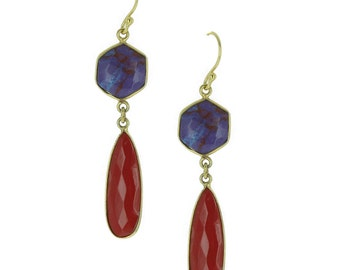 Purple turquoise earrings and Coral