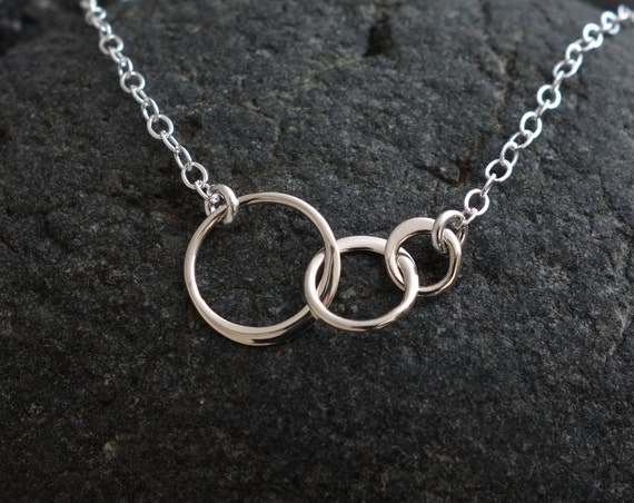 Three circle necklace silver tiny three linked circles sweet three circle necklace silver tiny three linked circles sweet 16th birthday gift sterling silver entwined interlocking circles aloadofball Image collections