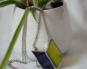 Stained Glass Jewelry - Purple Chartreuse 'Alita' Necklace - Geometric & Modern