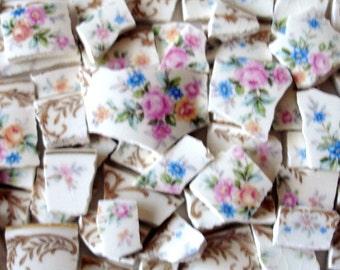 Vintage - carreaux de mosaïque - roses Roses - jaune - bleu - fleurs - vieil or w blé jantes Accents - Vintage - Broken China-Tessera