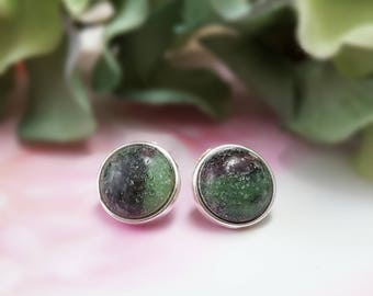 Ruby Zoisite Stud Earrings - Green Stone Earrings Silver - Gemstone Cabochon Earrings - Ruby Birthstone Stud Earrings - Ruby Studs E6005