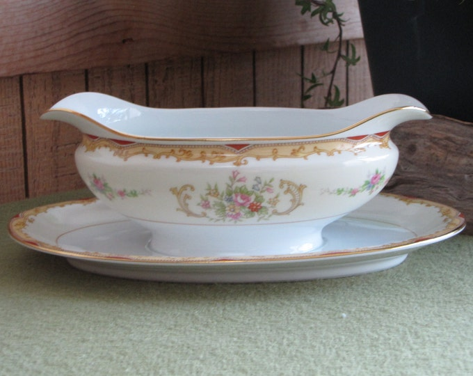 Noritake Gravy Boat and Underplate Vintage Dinnerware and Replacements Set circa 1930