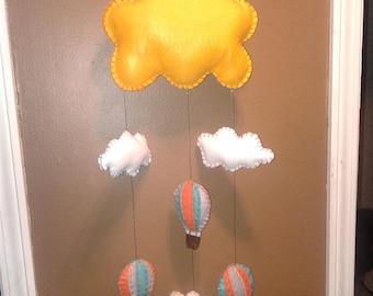 Gender neutral hot air balloon baby mobile / wall decor