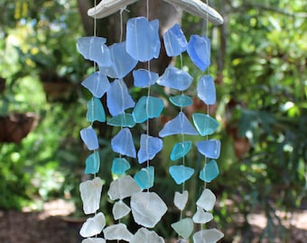 Beachy decor Sea star with sea glass, shell and coral wind chime