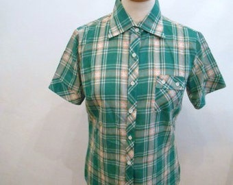 Cute hugging 50s vintage women's blouse green checkered