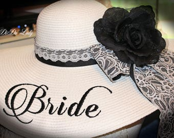Monogrammed Floppy Hat Black & White Lace Bridal Bride shabby Chic Wedding Derby Cup Race Custom sewn ribbons . OOAK NEW ITEM!