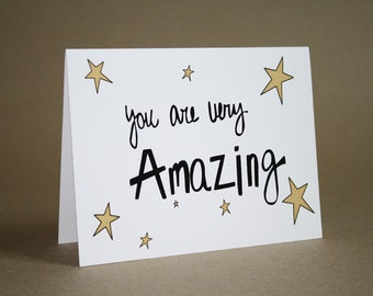 Encouragement Card- Thank You Card - Thanks, Love, Encouragement,  Amazing, Stars, greeting card