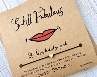 30th Birthday For Her 30th Birthday Gift 30th Birthday Card 30th Birthday Gifts For Her Thirtieth Birthday 30 And Fabulous Wish Bracelet