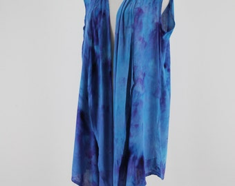 Sleeveless Waterfall Vest, hand dyed blue and purple vest, Woman's vest, Asymmetric  Rayon sleeveless vest, plus size vest, Boho vest