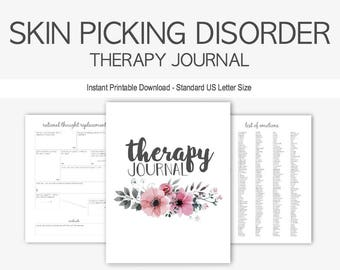 Compulsive Skin Picking Therapy Journal: Mental Health, Dermatillomania, Excoriation, Impulse Control, Counseling, Instant Printable