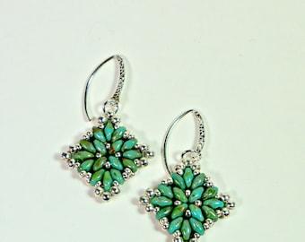 Dangle Beaded Earrings, Turquoise and Silver Diamond Shaped, Handmade Beadwoven Jewelry
