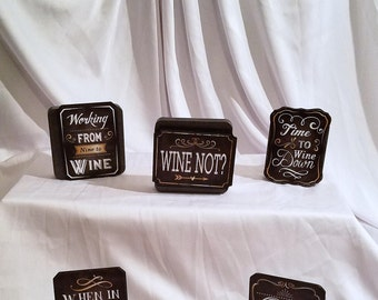 WINE Magnets. Wooden Wine Magnet, Wine, Wine Magnets, Wine Sign, Refrigerator Magnet,  Wine Quotes, Kitchen Decor, Wine Gifts