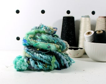 mermaidy 2  .. hand spun yarn, art yarn, handspun art yarn, wool yarn, boucle yarn, bulky yarn, handspun wool yarn