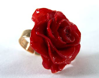 ring ball rose flower vintage dp beaded silver rings size red sterling amazon resin com