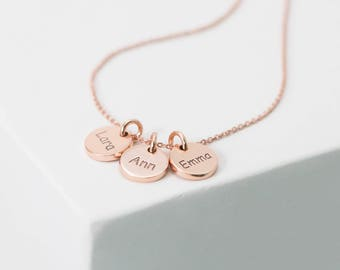 Custom Initials Necklace • Mother Necklace • Dainty Custom Hand-Stamped Disc Personalization • Family Kids Multi-Tag Disk Necklace • NM20F30