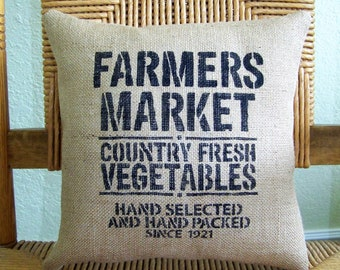 Farmers market pillow, Burlap pillow, Farmhouse decor, stenciled pillow, rustic pillow, country pillow,  decorative pillow, FREE SHIPPING!