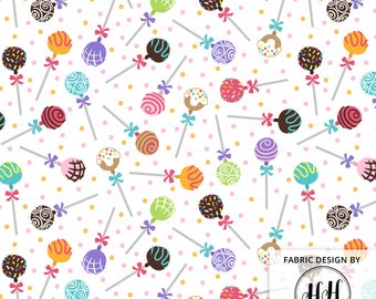 Cake Pop Fabric By The Yard / Girls Fabric / Colorful Fabric / Children's Fabric / Kids Baby Cake Fabric Print in Yards & Fat Quarter