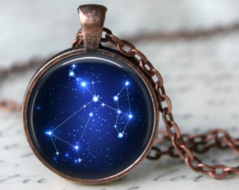 Sagittarius - Zodiac Pendant Necklace or Key Chain - Choice of 4 Bezel Colors - Nov. 22nd - Dec. 21st  Birthday, Constellations, Space
