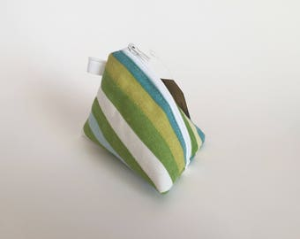 Mini Pouch -  Change Purse - Stripes Change Pouch - Pyramid Earbud Pouch - Key Chain Pouch - Triangle Lipstick Pouch - Small Size
