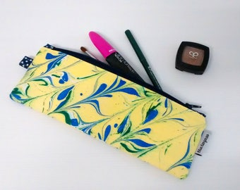 Cosmetic pouch, cutlery pouch, toiletry zipper pouch - Ebru blue/yellow marble