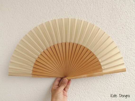 L Natural Plain Wooden Hand Fan Ready To Customize