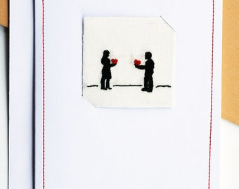 Valentine's Embroidered Silhouette Art Card (A6)
