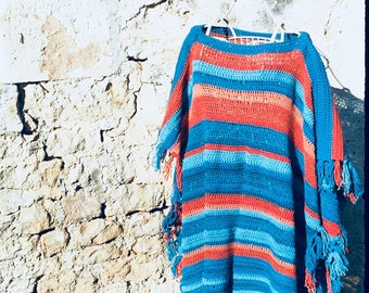 Blanket poncho, free shipping. Turquoise, teal, orange oversize boho blanket sweater. Festival, campfire crochet boho kimono.