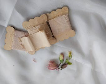 Natural dyed silk ribbon - blush