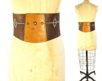 40s Studded Leather Kidney Belt RARE Vintage Handmade Distressed Worn In Motorcycle Western Rodeo Biker Rock N Roll Wide Bronco Bullet Belt