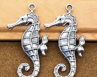 "2.5"" -Big-silver Sea Horse charm pendant"
