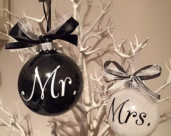 Mr & Mrs Wedding Gift Christmas Baubles Set of Two