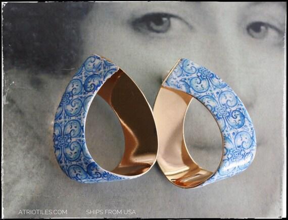 "Earrings HOOPS Portugal Tile Antique Azulejo - University of Évora founded in 1559 - Historic! Majolica Mosaic Romantic 2"""