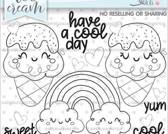 Ice Cream Stamps, Summer Stamps, Rainbow Stamps, COMMERCIAL USE Stamps, Summer Coloring Page, Planner Stamps, Have a Cool Day, Cute Stamps