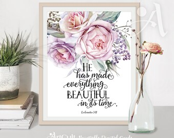Printable artwork wall Art digital download, Bible verse Scripture - Ecclesiastes 3:11 - for Home office and nursesry decor, ArtCult designs