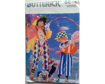 UNCUT Butterick 6846 Children's Boys Girls Clown Fancy Dress Costume and Hats Sewing Patterns Sizes XS, S, M, L, XL