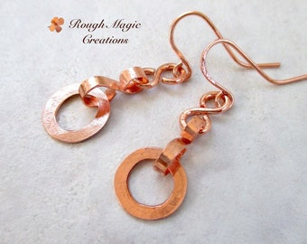 Solid Copper Earrings, Rustic Primitive Hammer Textured Metalwork, Open Circle Dangles, Long Earrings, 7th Anniversary Jewelry for Wife E216