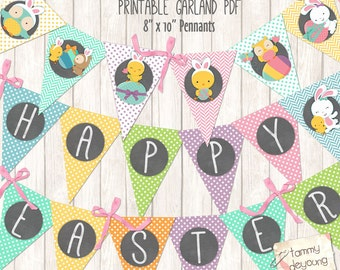 Easter Bunting, Printable Easter banner, Easter Decorations, Easter Pennant Garland bunny party decor mint, orange, pink, yellow & blue