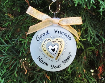 friend ornament,Friends gift ,gift for mom,bff,ornament,best friend personalized christmas ornament,hand painted, two friends