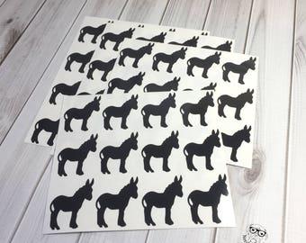 Donkey Stickers, Donkey Planner Stickers, Quantity of 48 , Donkey Envelope Seals, Donkey Tumbler Decals, Donkey Sticker Set, Donkey Decals