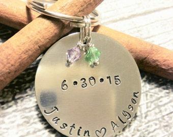 Personalized Name Key Chain - Couples Name Key Chain - Anniversary Key chain- Birthstone Key chain - Love Key Chain - Anniversary gift -