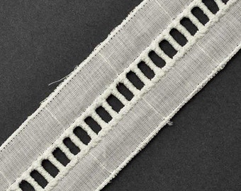 "1-1/2"" Faggoting Cotton ladder Lace Trim by 2-Yards, Black, Natural, TR-11093B"