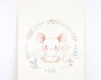 "NURSERY Art ""MOUSE"" Art Print, Nursery Illustration."