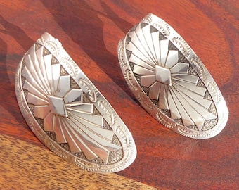 Navajo Large Sterling Silver Concho Earrings
