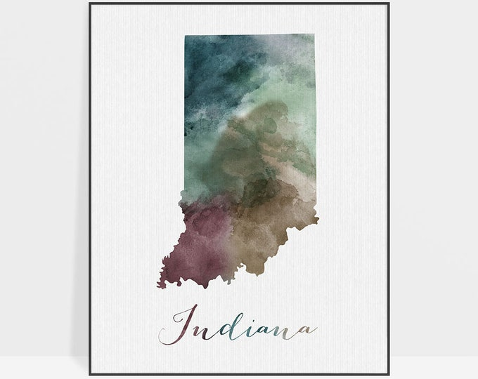 Indiana state map, Watercolor map, Wall art, Indiana map poster, Indiana state watercolor print, fine art, watercolor print, ArtPrintsVicky