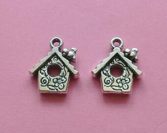 5 Birdhouse Charms Silver - CS2077