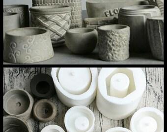 DIY Succulent plants flower pots moulds Silicone concrete cement mold Clay mould concrete planter mold