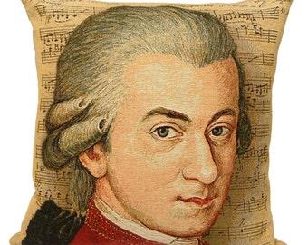 Mozart Portrait Pillow Cover - Mozart Gift - Amadeus Mozart Decor - 18x18 Belgian Tapestry Pillow Cover - PC-1829